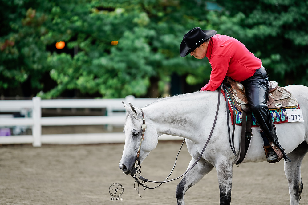 Andy petting his grey mare