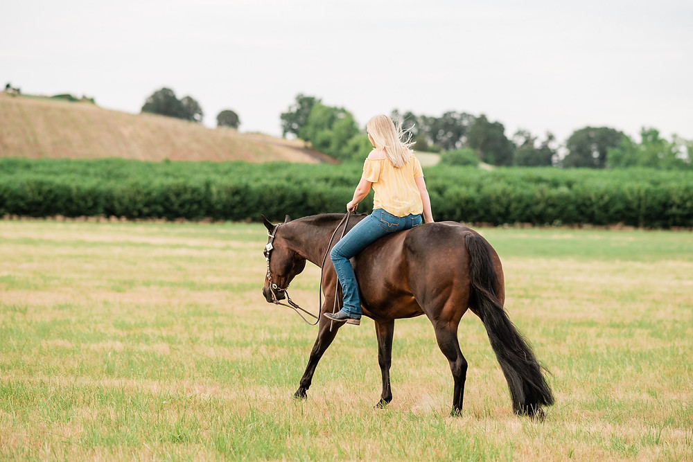 Haley loping Pink in the field bareback