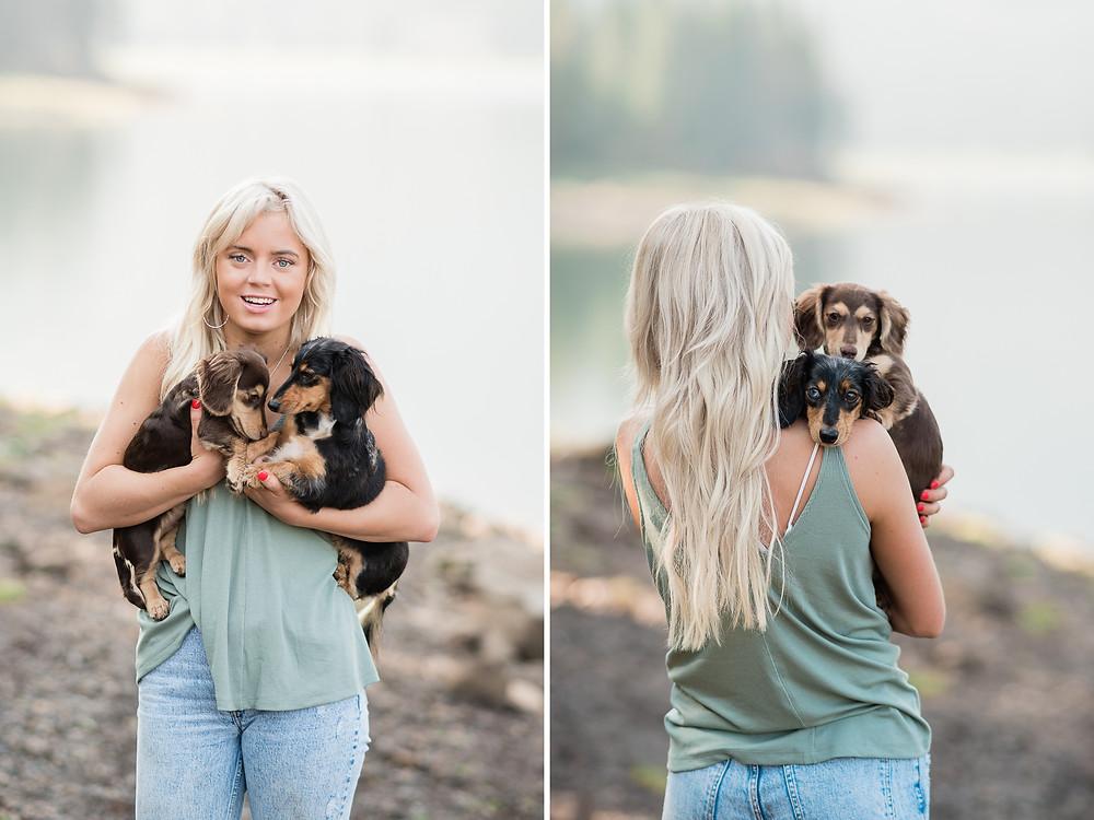 Katie snuggling her two daschund pups