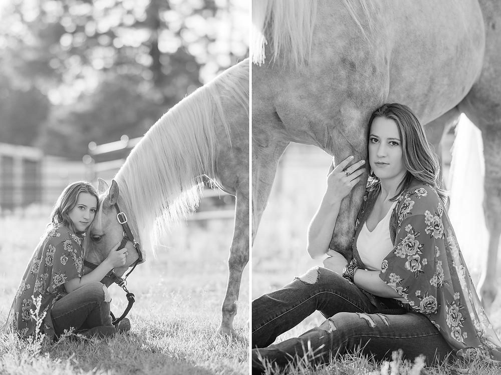 Katy sitting next to Platinum | black and white images