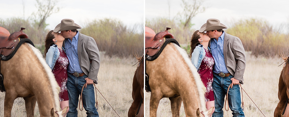 Before and after of Katy and Brady with their horses, Platinum and Ruby in Moses Lake, WA