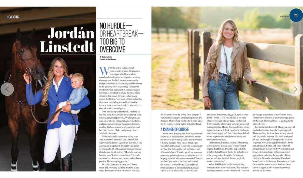 Jordan Linstedt Eventing feature in Sidelines Magazine