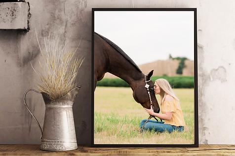 a framed print of a girl sitting in front of her horse, kissing her on the forehead