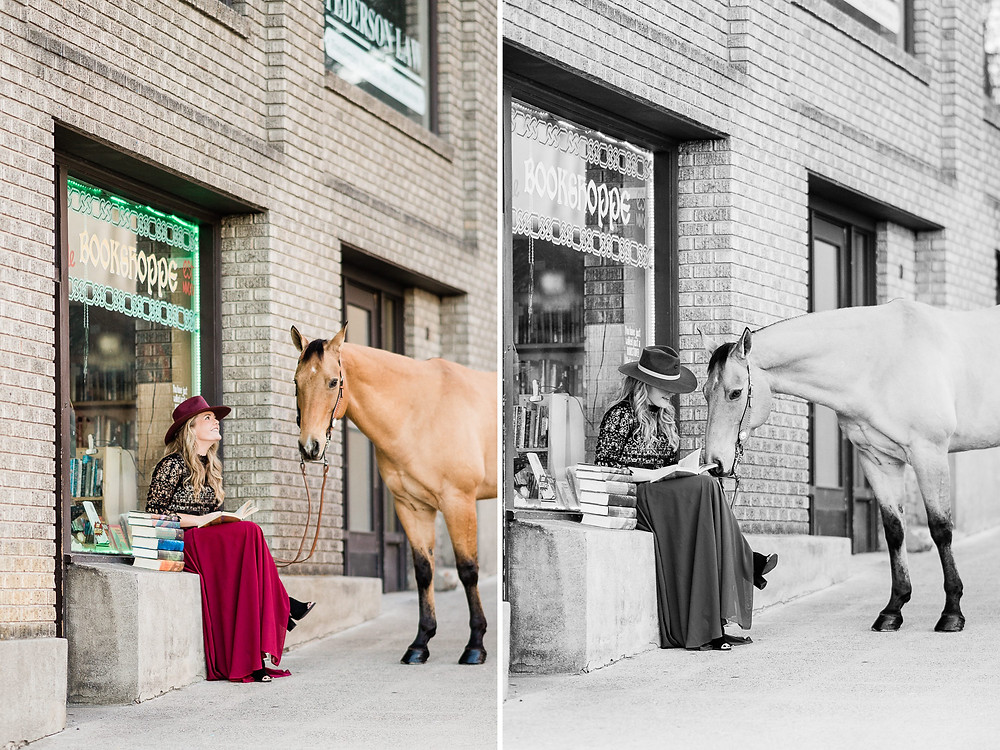 Breanna reading her Harry Potter books at Ole Ye Bookshoppe in downtown Wenatchee with her gelding, Legs, by her side