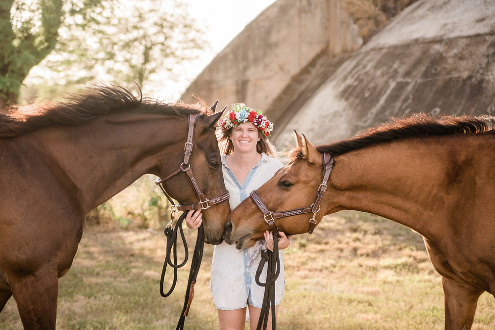 Lindsey with both horses, Tucker and Rocky