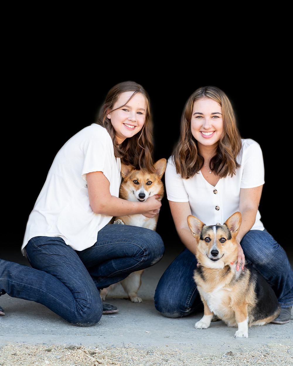 Emily, Sophie, and the corgis