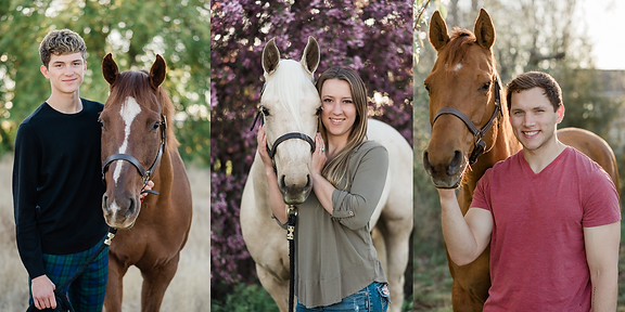 left: Blake and his horse, Armani. Middle: Katy and her horse Platinum. Right: Zach and our horse, Gracie.