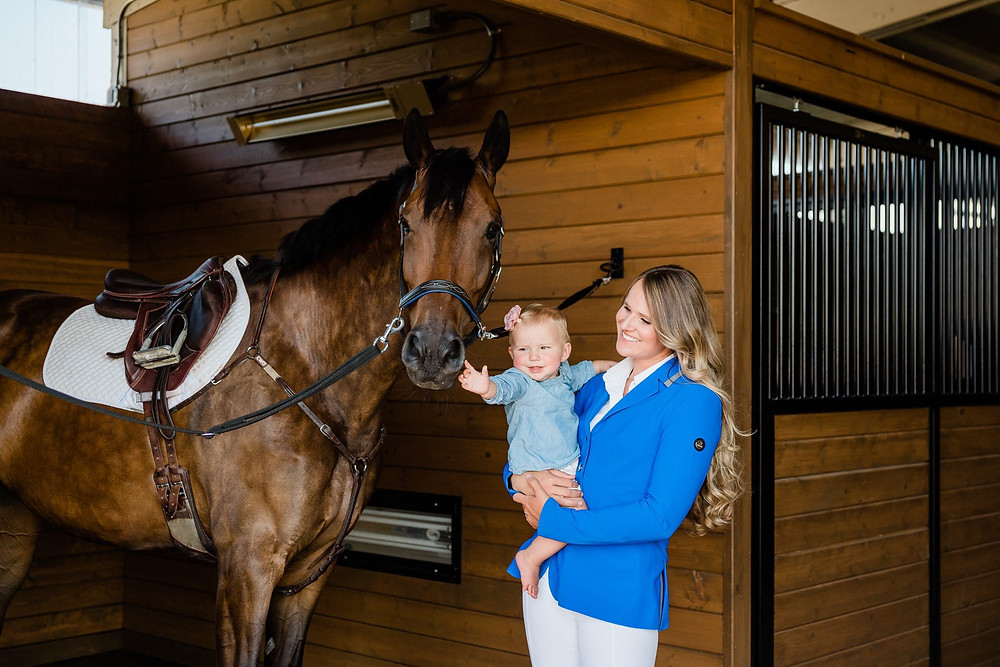 Professional 5 star event rider, Jordan Linstedt with her daughter Payton