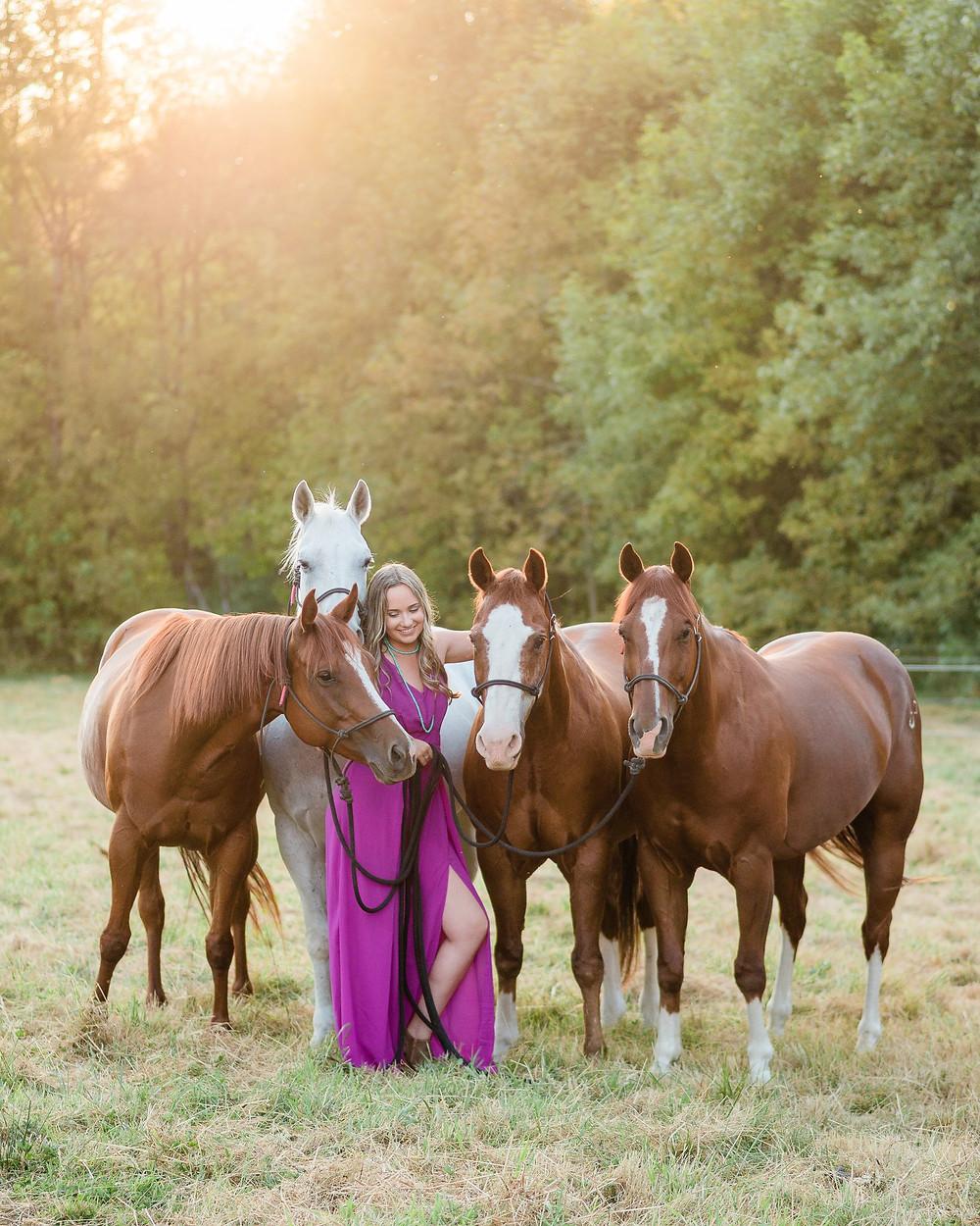 Bailey with all four horses, Mel B, Sugar, Dilbert, and Gordon