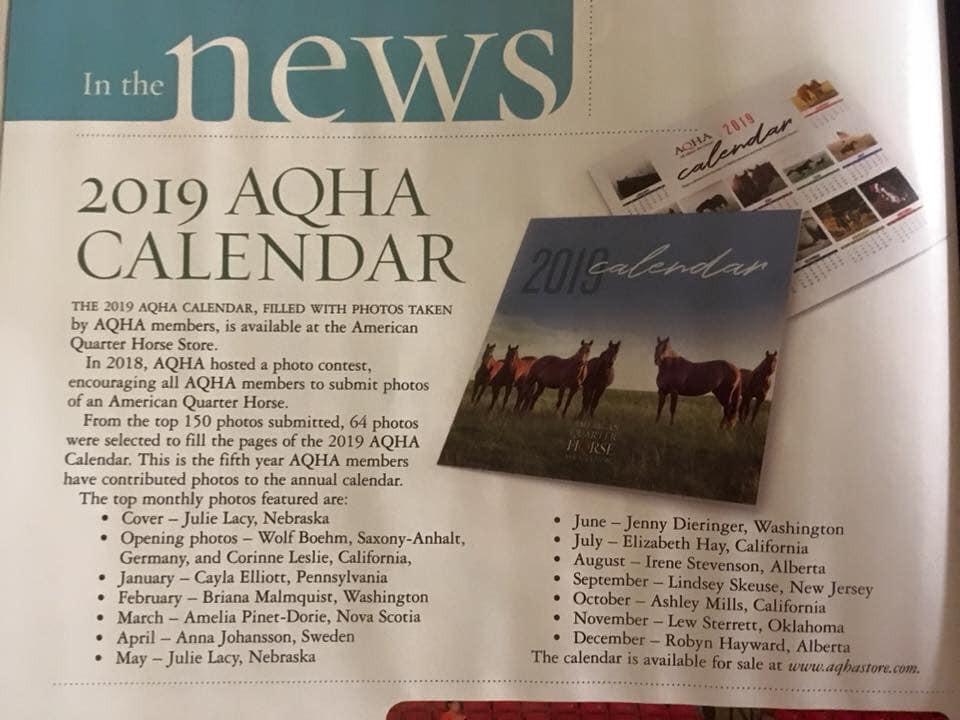 2019 AQHA Calendar