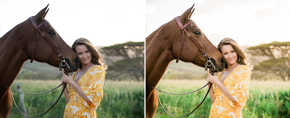 Before and after of Danielle Travis and her mare, Boomie in Oahu