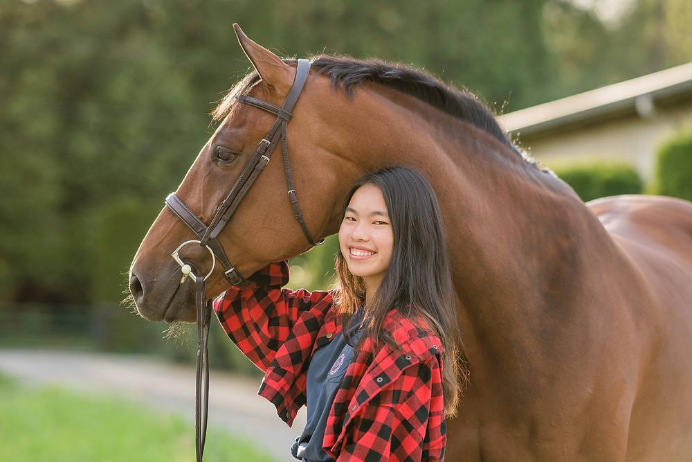 Kristen with her gorgeous gelding, Cass at Union Hill Ranch in Redmond, WA