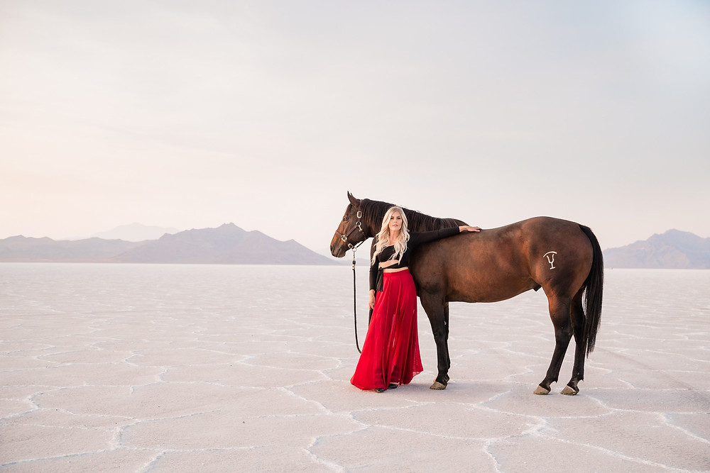 Davie Stokes and her big bay gelding, Dry, at the Bonneville Salt Flats in Utah