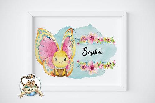 Personalisierte Kinderillustration Sara Schmetterling Watercolor Fine Art Druck