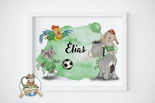 Personalisierte Kinderillustration Bremer Fußballmusikanten Watercolor Druck