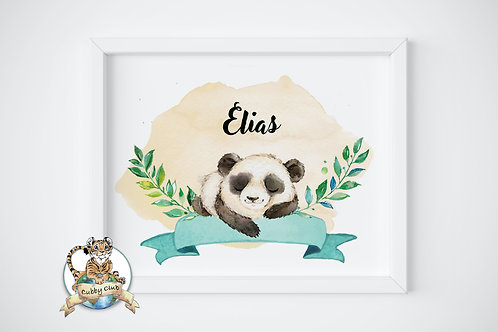 Personalisierte Kinderillustration Paul Panda Watercolor Fine Art Druck