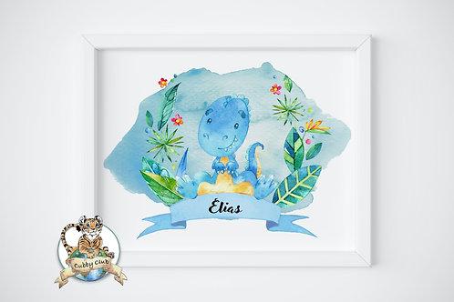 Personalisierte Kinderillustration Tiark T-Rex Watercolor Fine Art Druck