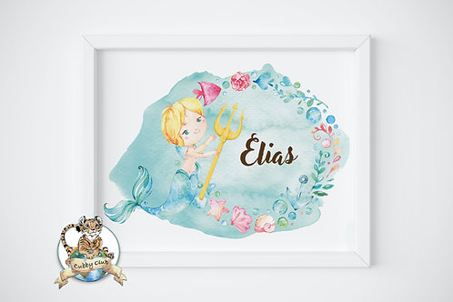 Personalisierte Kinderillustration Wali Wassermann Watercolor Fine Art Druck