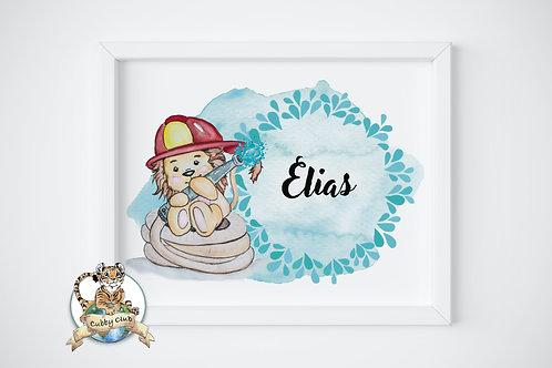 Personalisierte Kinderillustration Leo Feuerwehrlöwe Watercolor Fine Art Druck