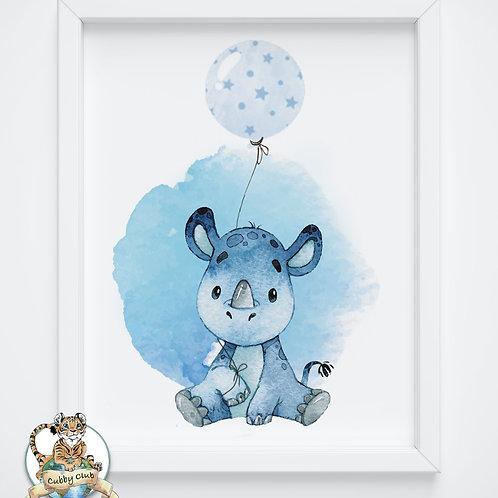 Personalisierte Kinderillustration Nils Nashorn Watercolor Fine Art Druck