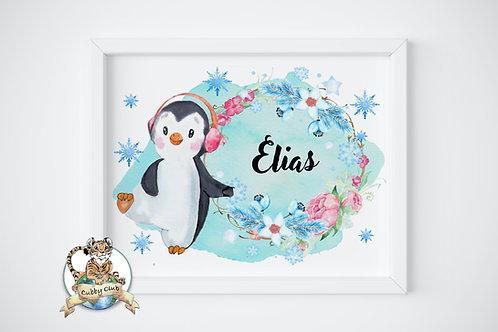 Personalisierte Kinderillustration Piet Pinguin Watercolor Fine Art Druck
