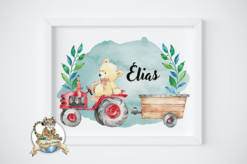 Personalisierte Kinderillustration Theo Traktor Teddy Watercolor Fine Art Druck