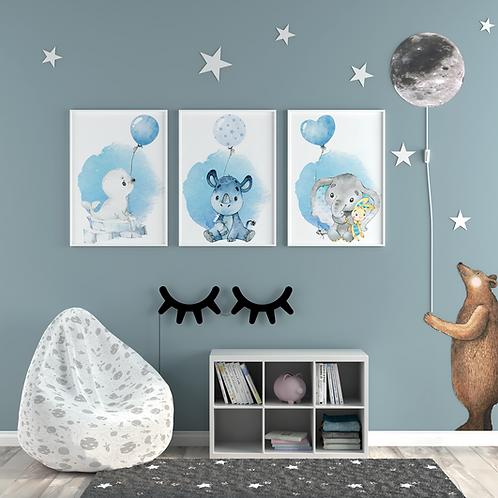 SET Kinderillustrationen Emil Elefant, Nils Nashorn & Robby Robbe