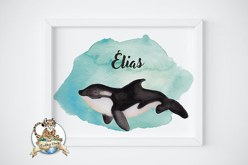 Personalisierte Kinderillustration Oskar Orca Watercolor Fine Art