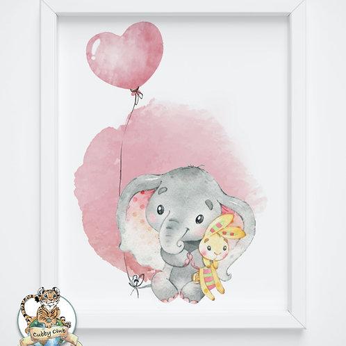 Personalisierte Kinderillustration Emily Elefant Watercolor Fine Art Druck