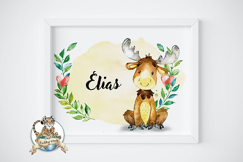 Personalisierte Kinderillustration Elvis Elch Watercolor Fine Art Druck