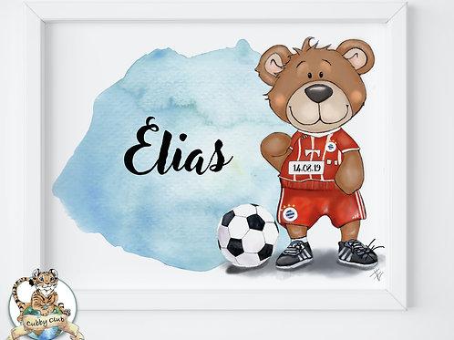 Personalisierte Kinderillustration Ben Bayern Fußball Bärchen Watercolor Druck