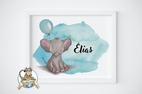 Personalisierte Kinderillustration Elias Elefant Watercolor Fine Art Druck