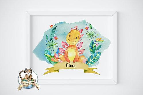 Personalisierte Kinderillustration Stefan Stegosaurus Watercolor Fine Art Druck