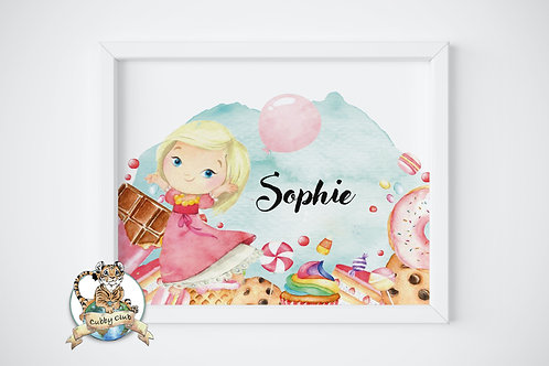 Personalisierte Kinderillustration Candice Candy Watercolor Fine Art Druck