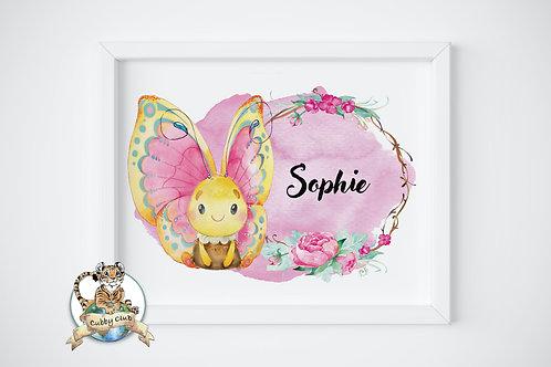Personalisierte Kinderillustration Sofia Schmetterling Watercolor Fine Art Druck