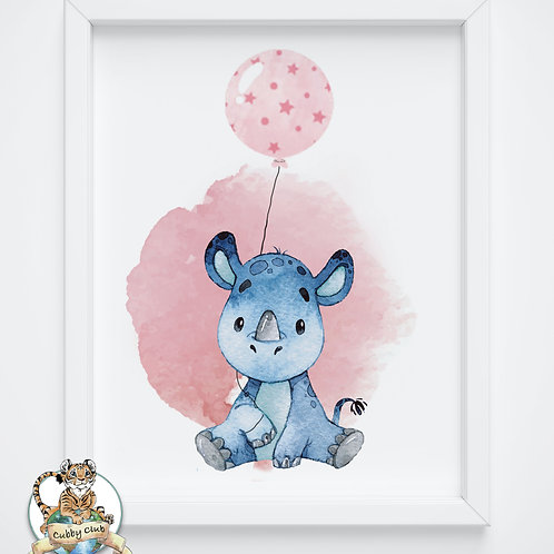 Personalisierte Kinderillustration Nikki Nashorn Watercolor Fine Art Druck