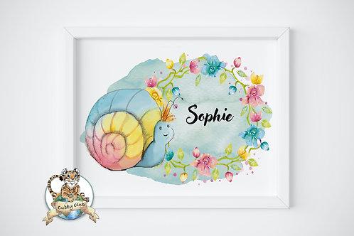 Personalisierte Kinderillustration Sabine Schnecke Watercolor Fine Art Druck