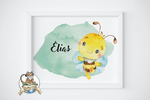 Personalisierte Kinderillustration Bilbo Bienchen Watercolor Fine Art Druck