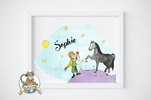 Personalisierte Kinderillustration Prinz & Pferd Watercolor Fine Art Druck