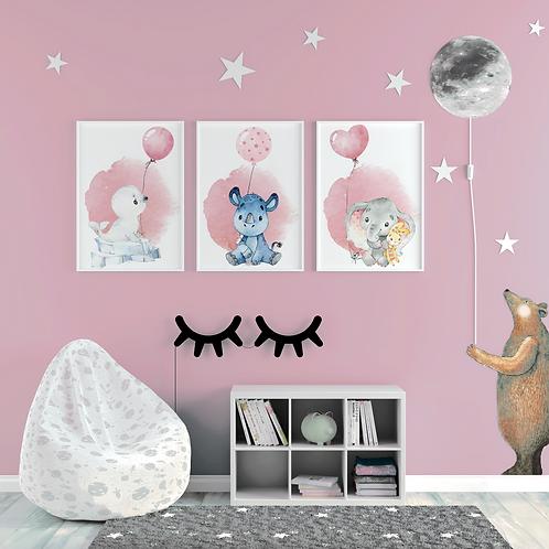 SET Kinderillustrationen Emily Elefant, Nikki Nashorn & Roberta Robbe