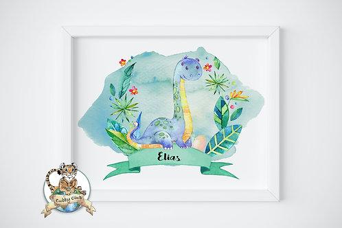 Personalisierte Kinderillustration Lanny Langhals Watercolor Fine Art Druck