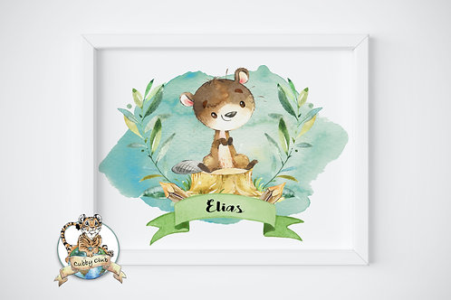 Personalisierte Kinderillustration Billy Biber Watercolor Fine Art Druck