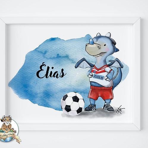 Personalisierte Kinderillustration Hamburger Fußball Dino Watercolor Fine Art