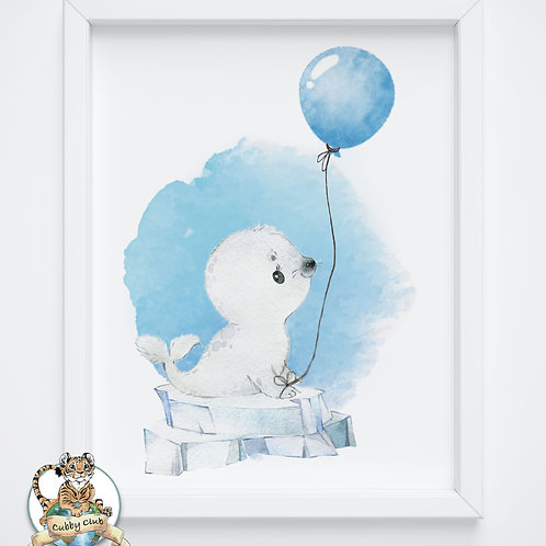 Personalisierte Kinderillustration Robby Robbe Watercolor Fine Art Druck