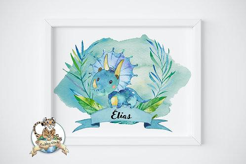 Personalisierte Kinderillustration Tom Triceratops Watercolor Fine Art Druck