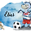 Thumbnail: Personalisierte Kinderillustration Hamburger Fußball Dino Watercolor Fine Art