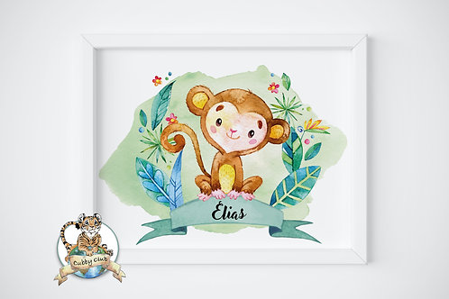 Personalisierte Kinderillustration Albi Äffchen Watercolor Fine Art Druck