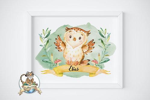 Personalisierte Kinderillustration Eugenia Eule Watercolor Fine Art Druck