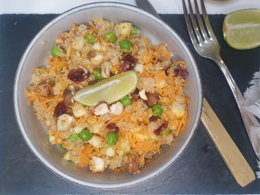 Salade d'été, Quinoa, lentilles corail, légumes cuits et crus.