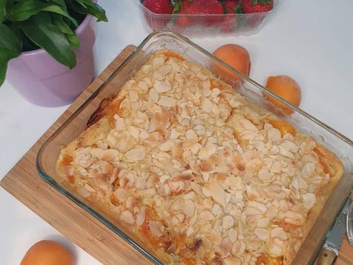 CLAFOUTI aux abricots, recette sans gluten , sans lactose ni sucre raffiné.